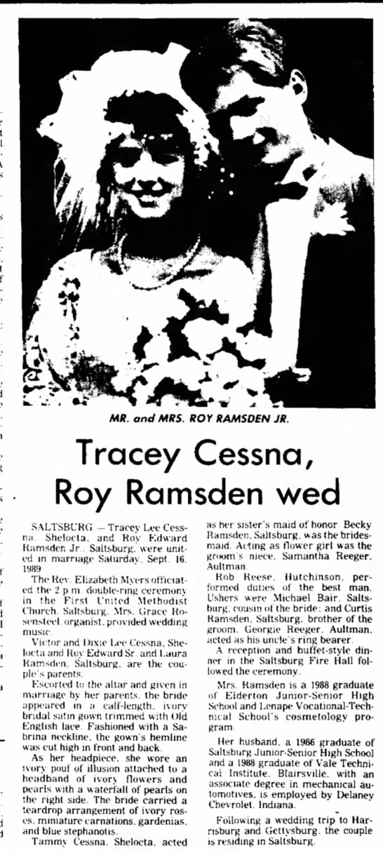 Tracey Cessna and Roy Ramsden Wedding Announcemet