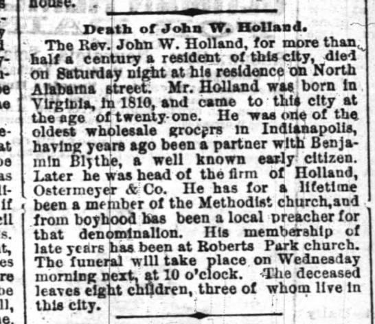 Rev John W. Holland, possibly family; obit