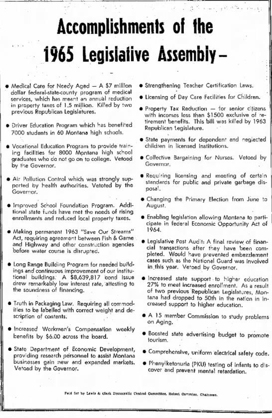 ACCOMPLISHMENTS OF THE 1965 LEGISLATIVE ASSEMBLY
