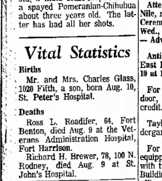 Charles Glass birth of son 11 AUG 1968