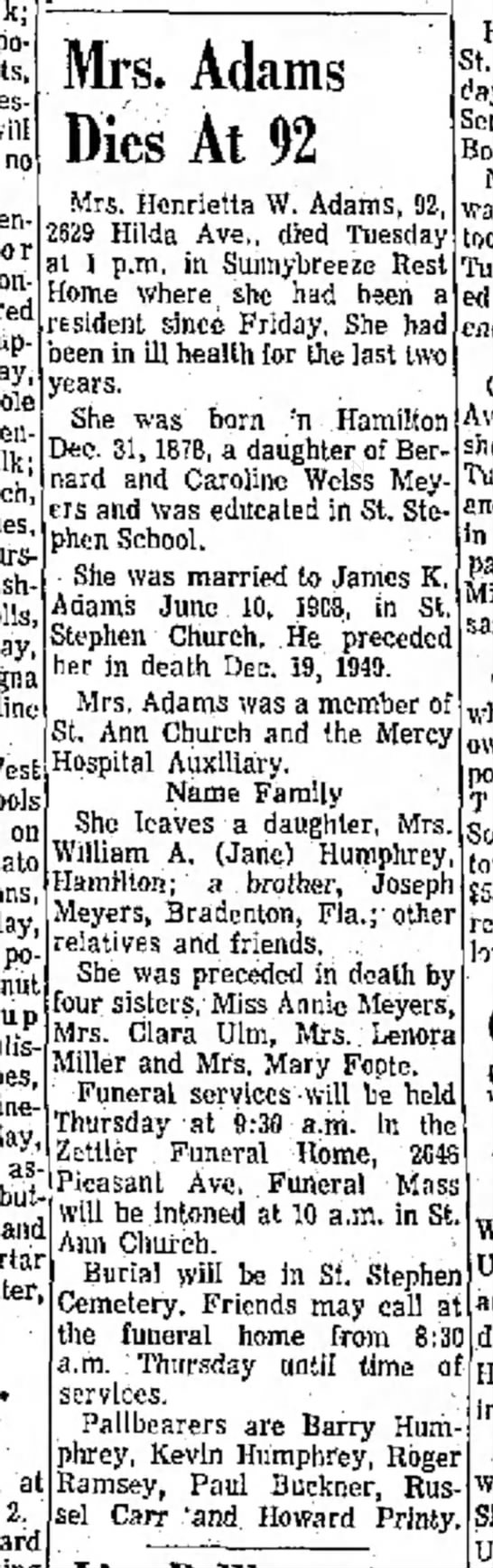 Henrietta (Meyers) Adams dies (1971)