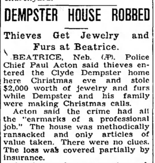 Dempst House Robbed 1937