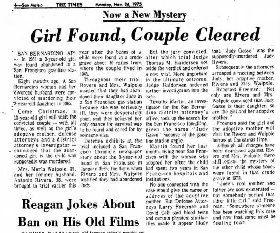 Nov 24 1974 Judy Rivera: San Mateo