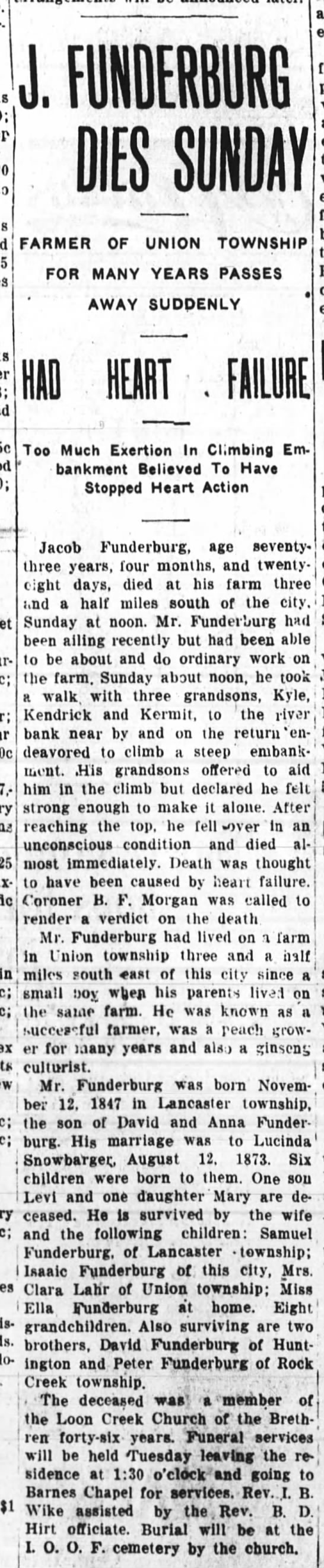 Jacob funderburg obit 11 apr 1921