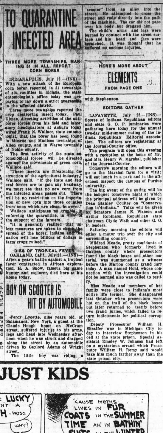 Hough scooter accident 28 jul 1927