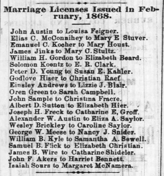 1868 Febuary - Marriage License - Gottlieb Hiser and Christian Reif