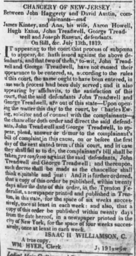 John and George Treadwell Lawsuit