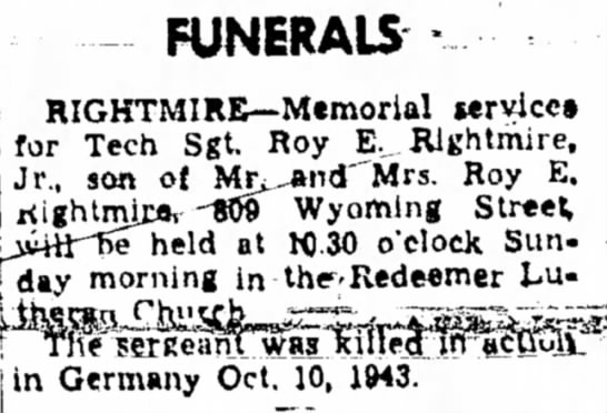 Funeral Notice for Tech Sgt Roy E. Rightmire, Jr.