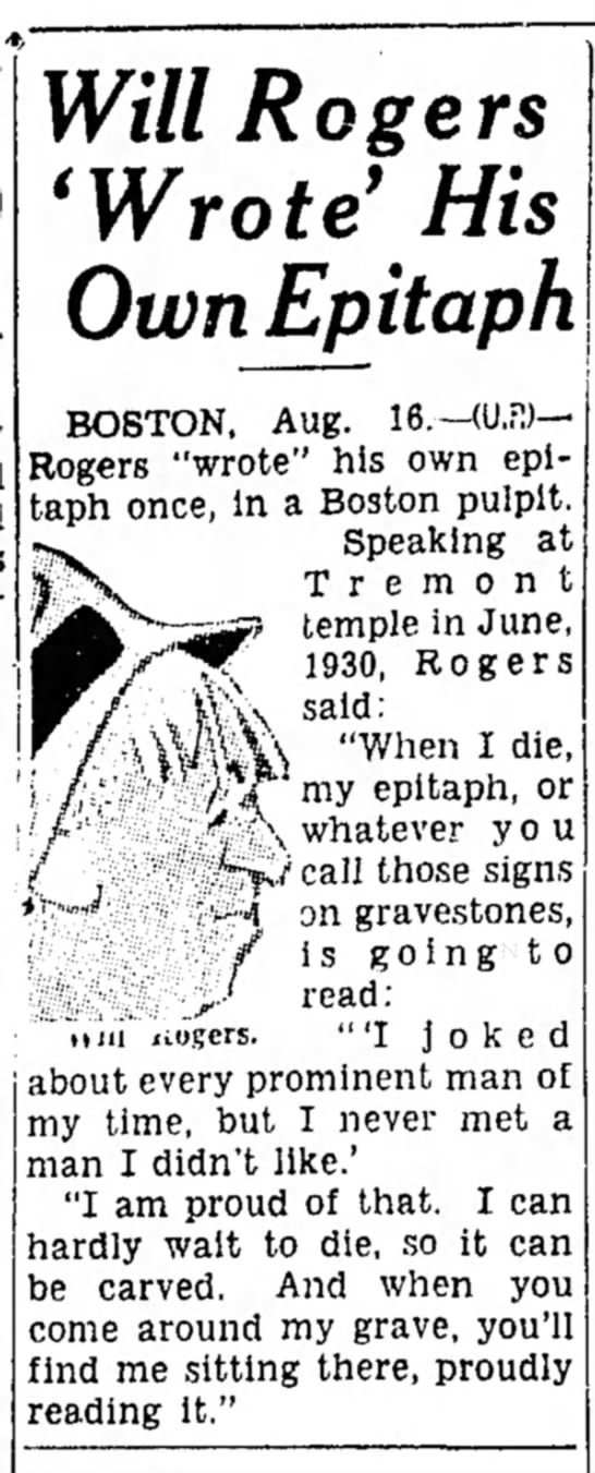 """Will Rogers """"wrote"""" his own epitaph"""