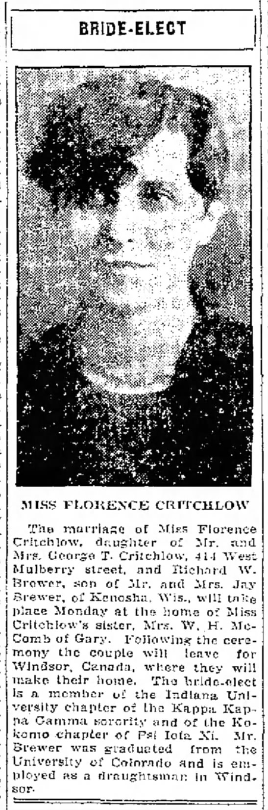 Florence Critchlow & Richard W Brewer Marriage Announcement More Research