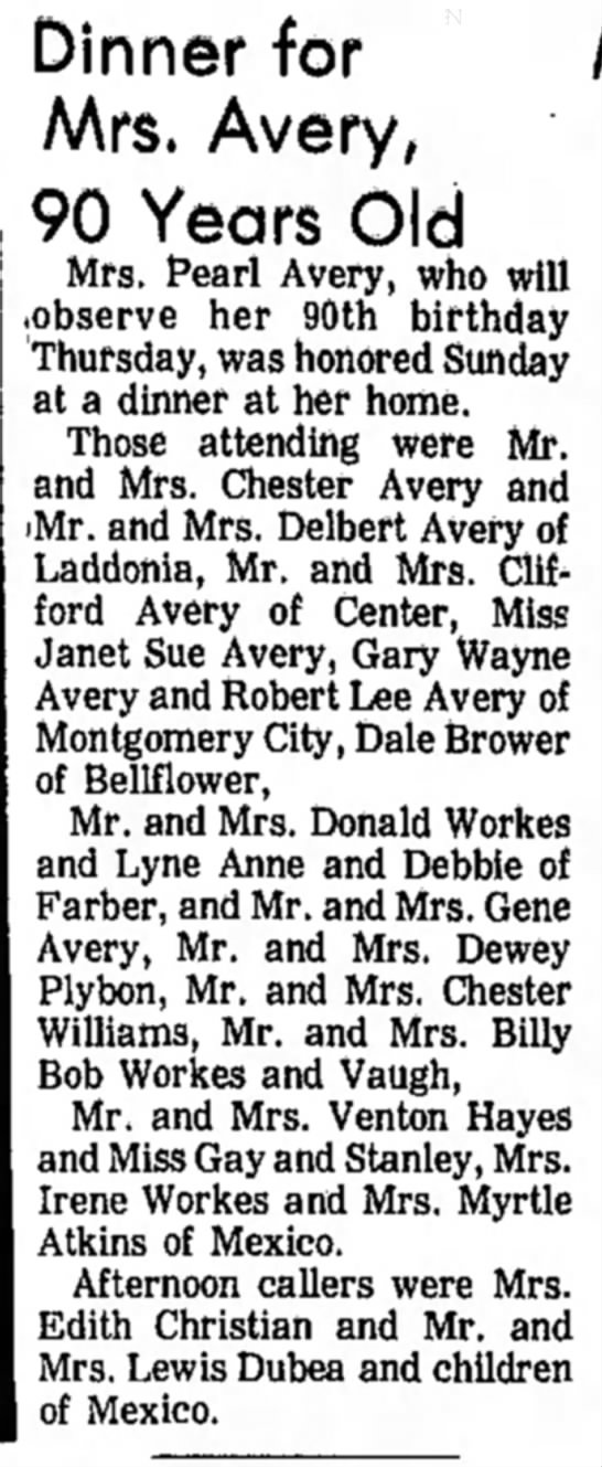"""Dinner for Mrs. Avery, 90 Years Old,"" Mexico (Missouri) Ledger, 27 January 1971, p. 12, col. 6."
