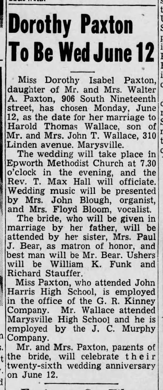 Wallace-Paxton wedding announcement