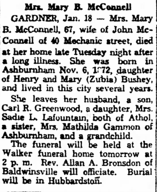 Mary McConnell Greenwood mother