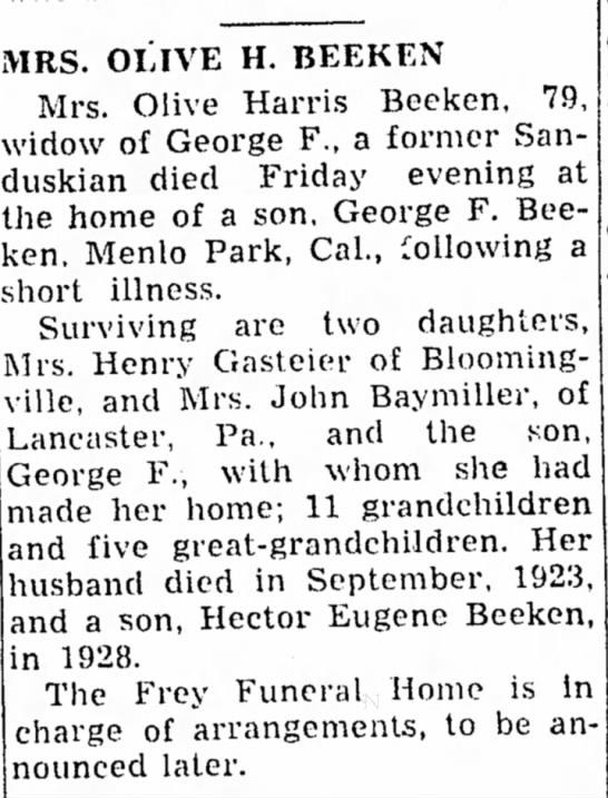 Sandusky (OH) Register25 Jun 1951Newspapers.comAccessed 27 Dec 2013