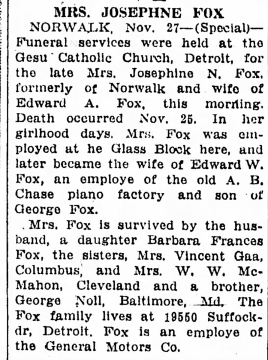 Fox Josephine Obit - Sandusky Register 28 Nov 1940