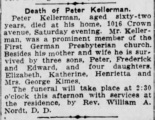 Peter Kellerman Sr Death Notice