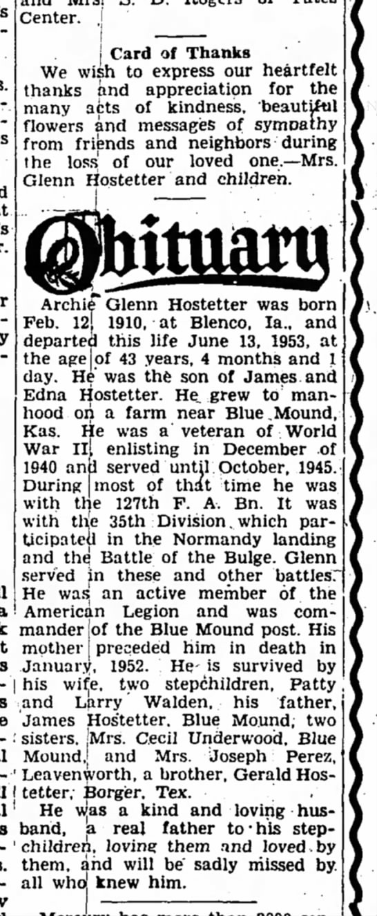 Archie Glenn Hostetter Obituary 24 June 1953 Iola Register Iola Kansas Page 3 Col 2