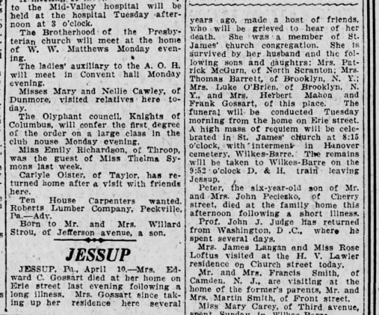 The Scranton Republican 11 April 1921 - Cecelia Flynn Gossart obituary