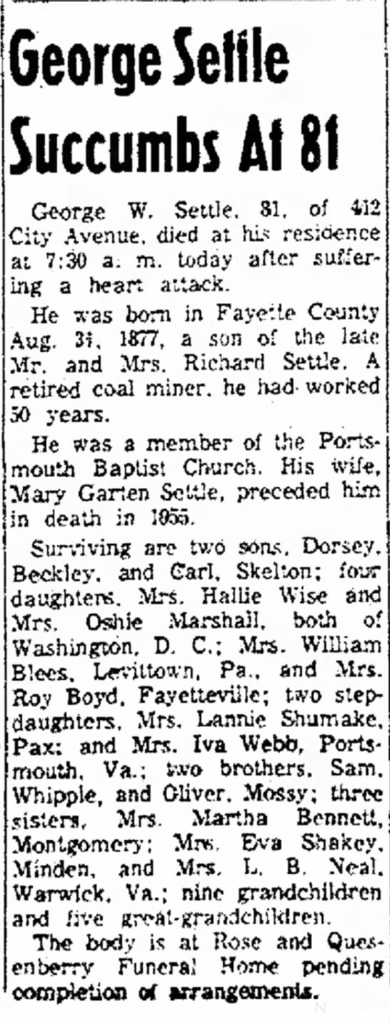 George Settle dies 26 Jan 1959