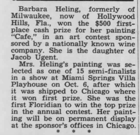 Bertha Ugent art award announcement 1 Nov. 1968 WI  Jewish Chronicle