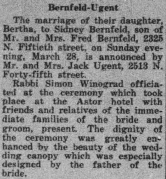 Bernfeld-Ugent wedding announcement 2 April 1943 WI Jewish Chronicle