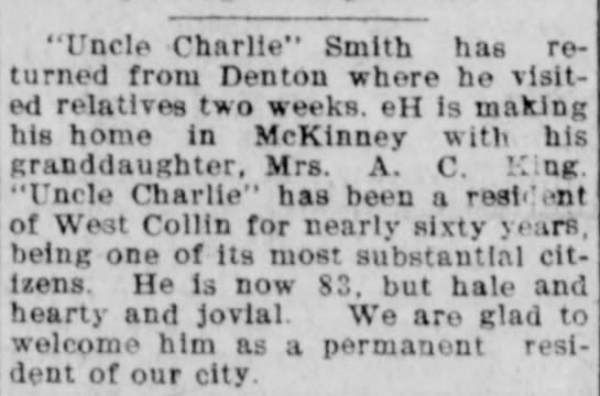 C. L. Smith move to McKinney - McKinney Weekly Democrat-Gazette - Dec. 9, 1909