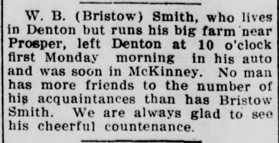 W. B. Smith - McKinney Courier-Gazette - Oct. 9, 1912