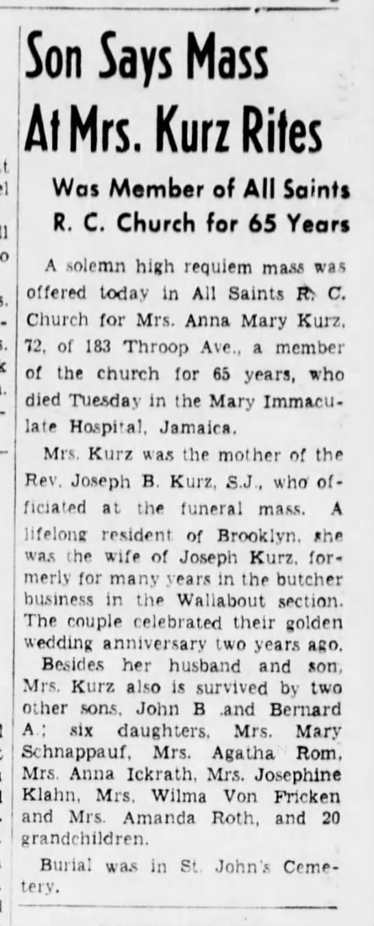 Mrs Kurz obituary