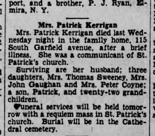 Mary Corcoran Kerrigan Obit 13feb1931