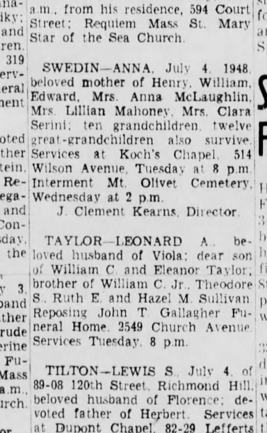 Obituary for Great-Grandmother Anna Swedin