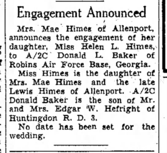 Helen L. Himes engagement-TDN-p.8-4 Oct 1955