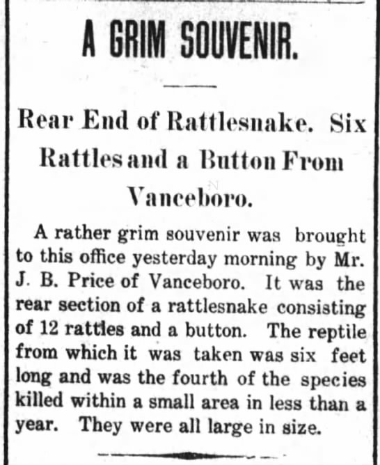 J.B. Price brings rear of rattlesnake to newspaper (strange) 1906