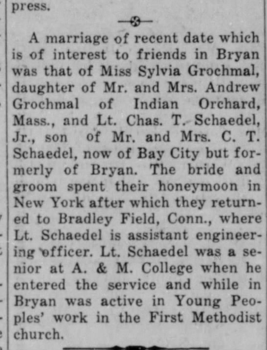 Lt Charles Schaedel marriage 1945