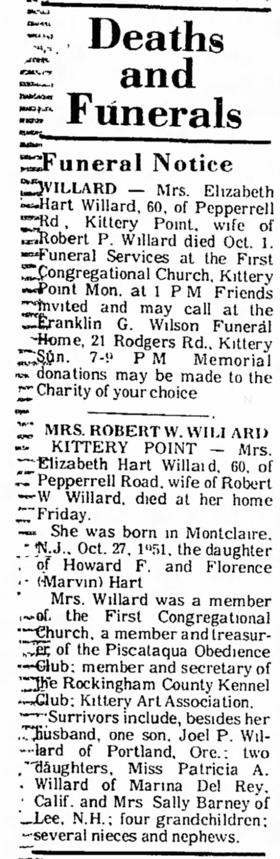 Obituary of Elizabeth Hart Willard The Portsmouth Herald Saturday - Oct 2, 1976    page 3