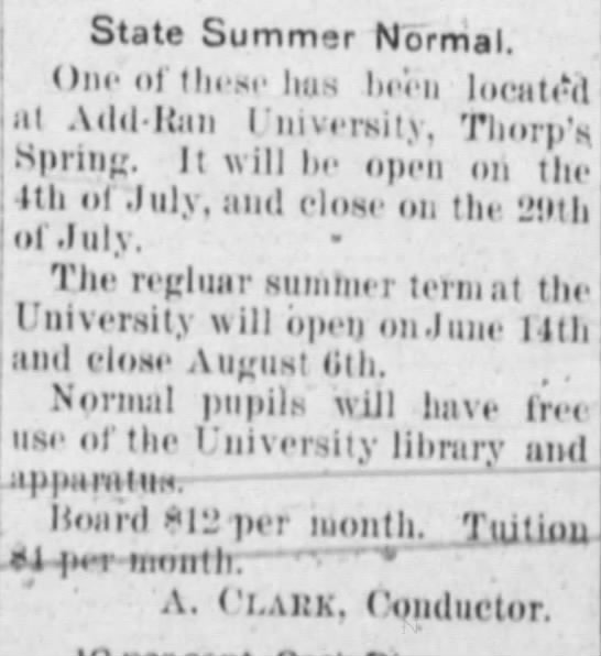 1892 Add-Ran summer term