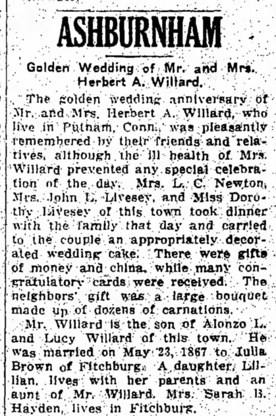 Golden Wedding Anniversary of Herbert A Willard