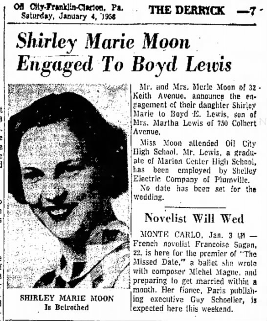 Shirley Moon & Boyd Lewis engagement announcement Jan 1958