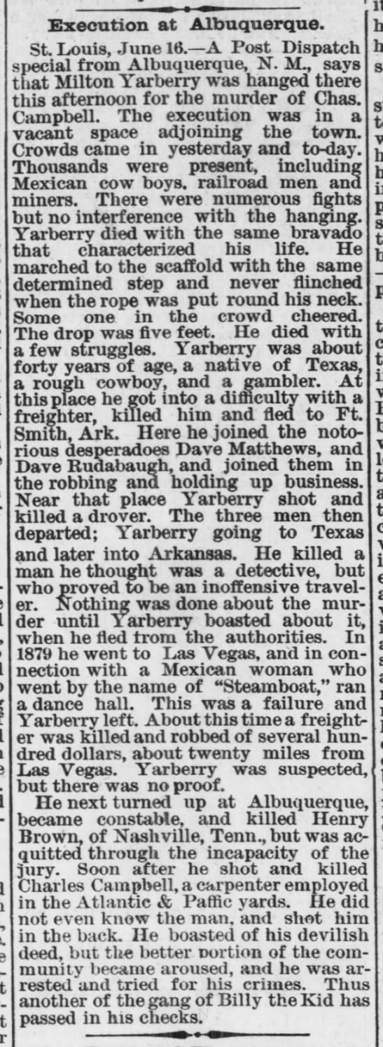 1882-06-17 Execution at Albuquerque of Milton Yarberry