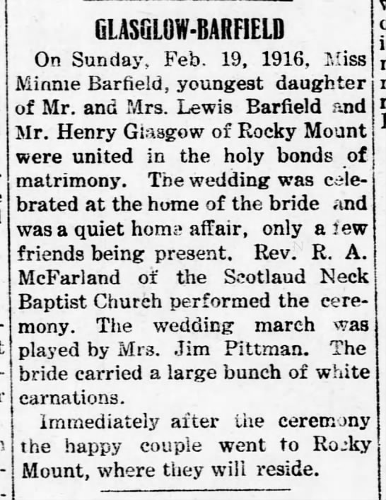 Henry Pope Glasgow, marriage announcement 1916