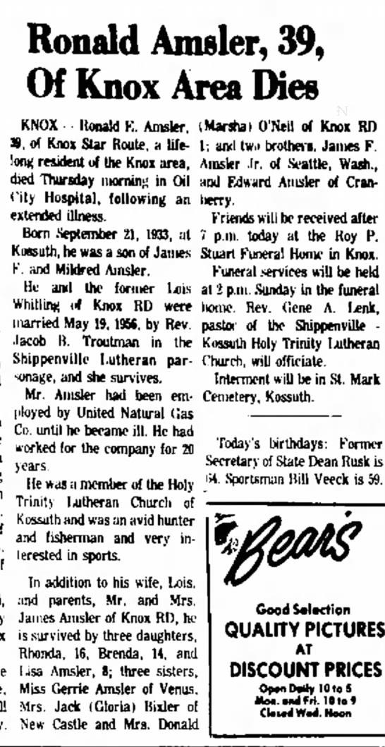 Ronald E Amsler obit Feb 9 1973