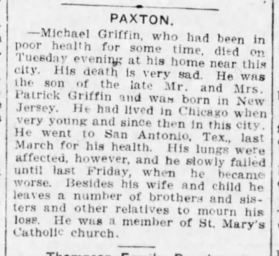 Michael Griffin obit 29 Aug 1913 Weekly Pantagraph