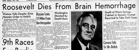 Roosevelt Dies From Brain Hemorrhage