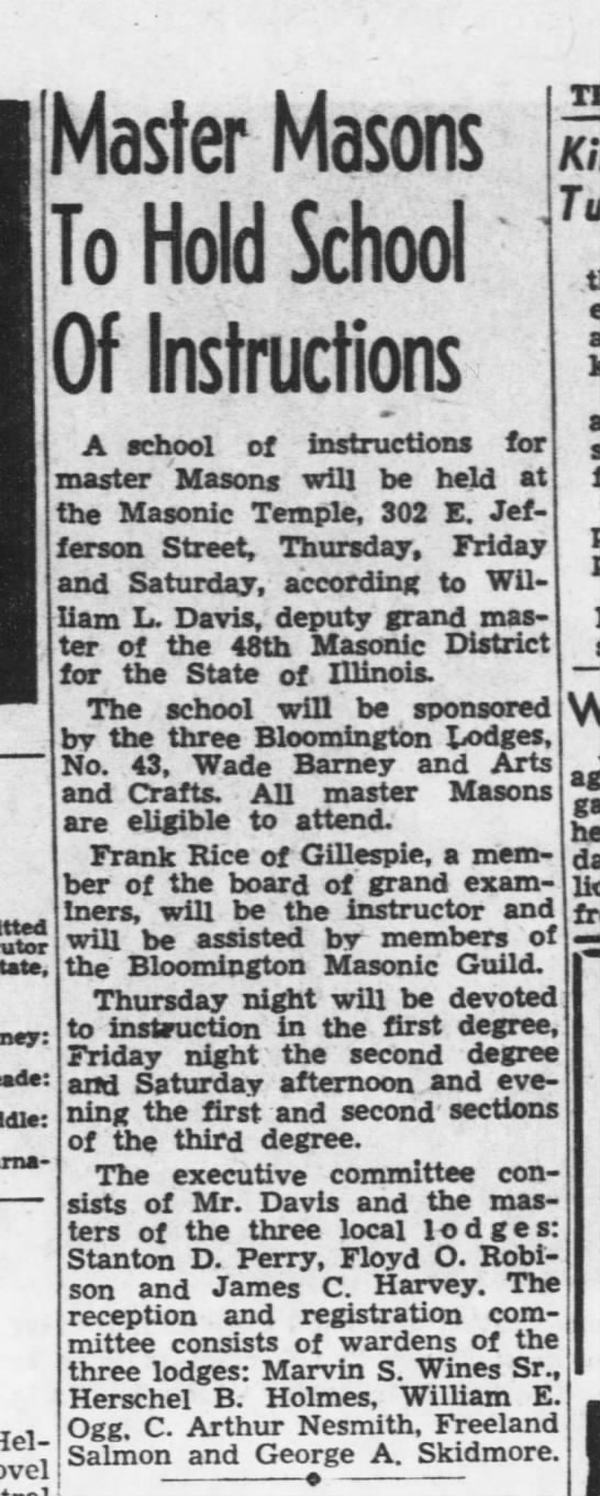 Master Masons hold School of Instructions includes Freeland on Exec  Committee 25 Mar 1951