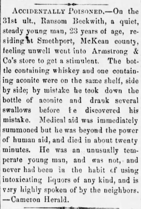 Ransom Beckwith poisoning death