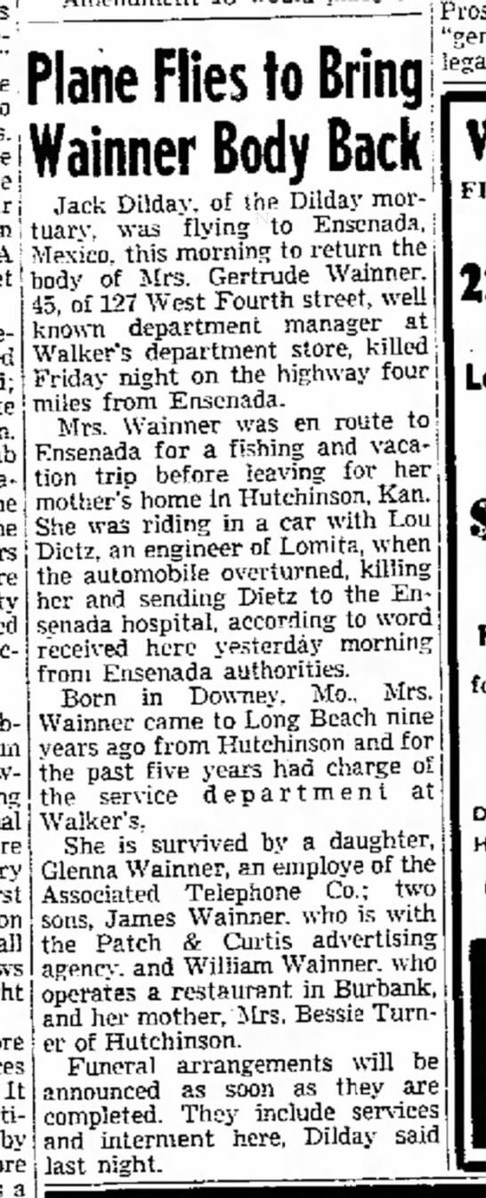 News of body return for Gertrude Turner Wainner, 11 Feb 1948