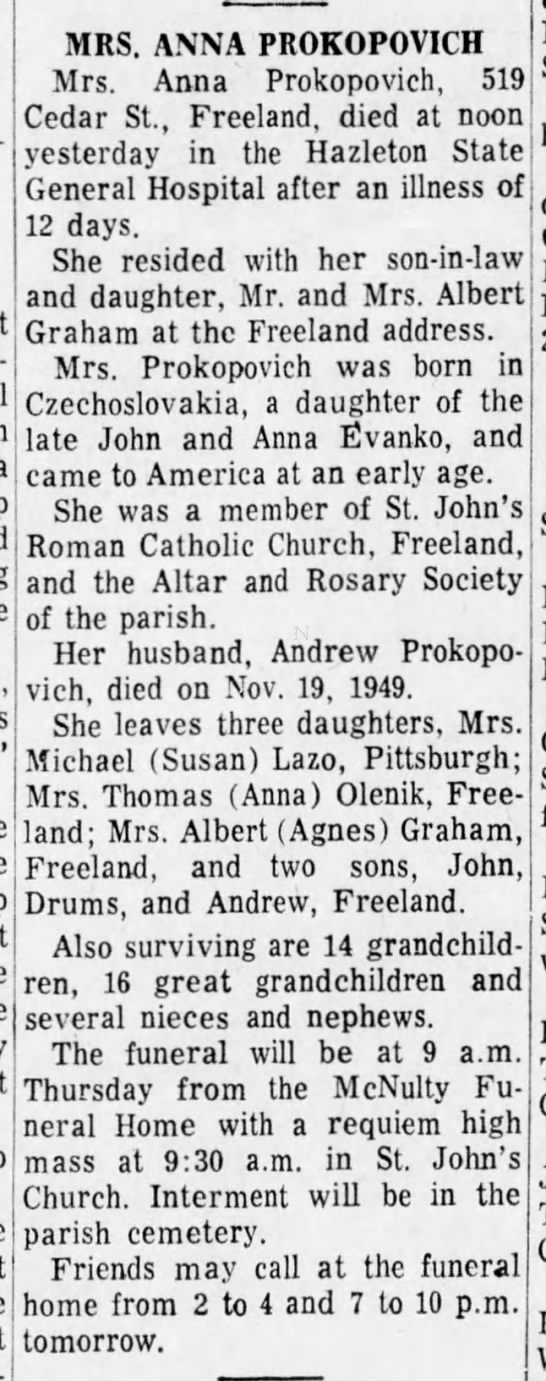 Anna Evanko Prokopovich Obituary 20 January 1969