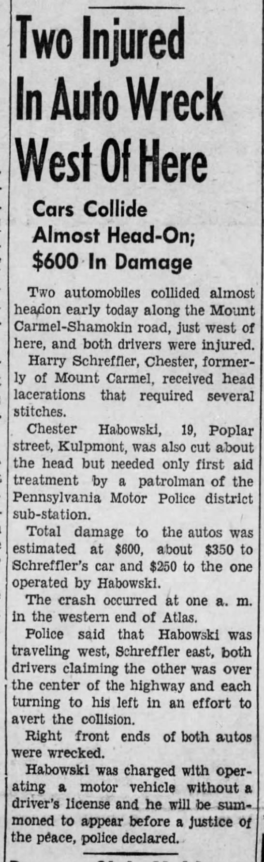 1941,Aug.13.....Chester Habowski, 19, involved in auto accident.