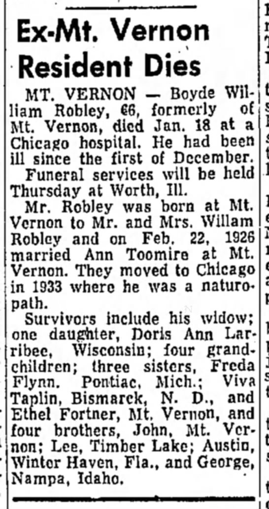 Boyde William Robley-obit-Daily Republic (Mitchell, SD) p.2-20 Jan 1970