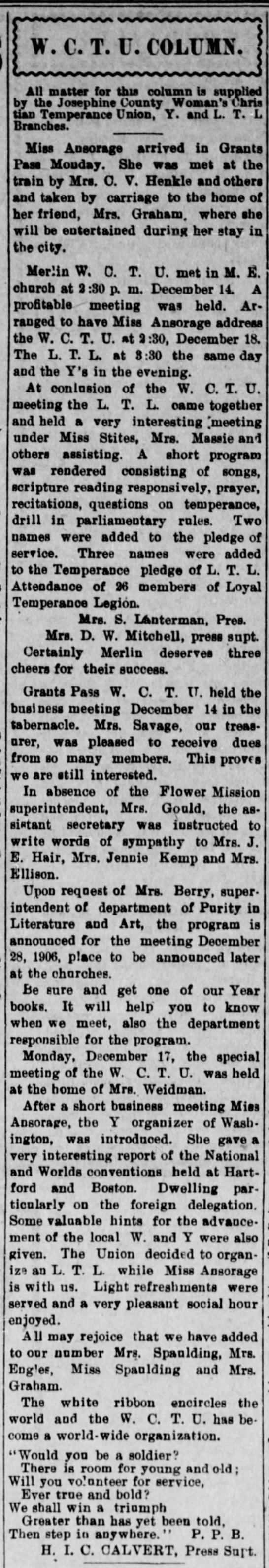 Weekly Rogue River Courier (Grants Pass, OR) 21 Dec 1906 p7 c3
