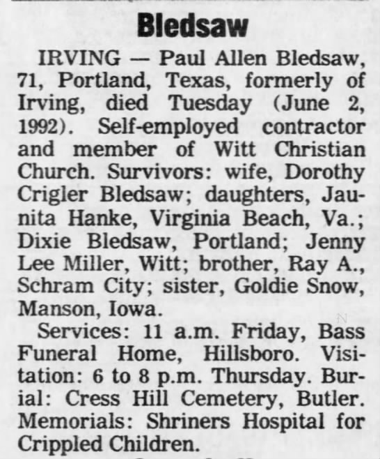 Paul Allen Bledsaw 1992 Obituary
